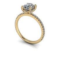 Oval Moissanite Engagement Ring - Diamond Semi-Mount - Customize Your Engagement Ring