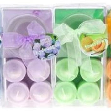 4 piece scented votive candle with glass holder in clear box - assorted Case of 48