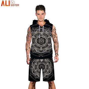 Alisister Esoteric Hooded Tank Top With Beach Shorts Summer 2 Pieces Set Men's Casual 3d Print Suits Plus Size Vest Clothing
