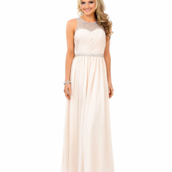 Unique Prom Exclusive Champagne Rhinestone Sleeveless Chiffon Gown 2015 Prom Dresses