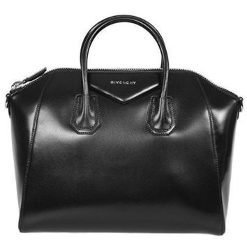 Givenchy Hbag Anti Svr Det M Antigona Sugar Goatskin Leather Satchel Bag Black