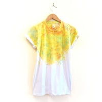 "The Original ""Splash Dyed"" Hand PAINTED Scoop Neck Pinned Rolled Cuffs Tee in White Spectrum Lemon Crystalline - Women's S M L XL 2XL 3XL"