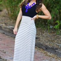 The Stripe Side Maxi Skirt: Sand | Hope's