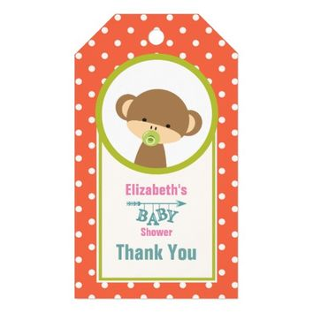 Baby Monkey with a Pacifier on Polka Dots Thanks Gift Tags