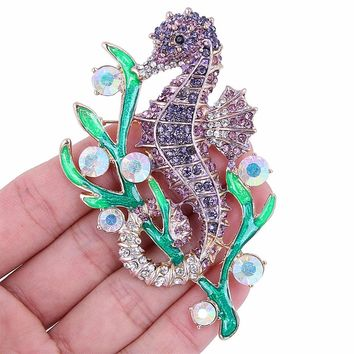 Bella Fashion Enameled Animal Hippocampus Sea Horse Brooch Pins Purple Austrian Crystal Rhinestone Brooches For Party Jewelry