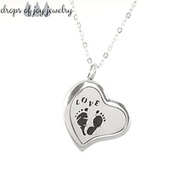 Footprints Heart Diffuser Necklace