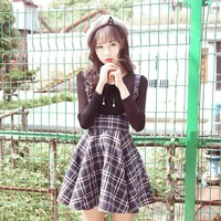 Korean Plaid Suspender Skirt plus Shirt