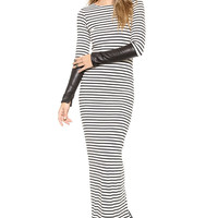 Striped Leather Accent Long Sleeve Bodycon Slit Maxi Dress