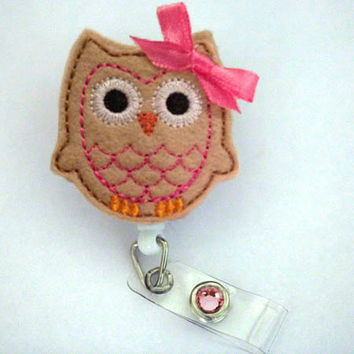 Cute Pink Brown Owl - Name Badge Holder - Nurses Badge Holder - Cute Badge Reels - Unique ID Badge Holder - Felt Badge - RN Badge Reel
