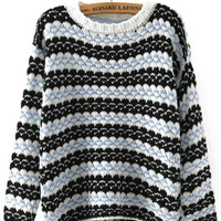 Blue and Black Stripe Knit Pullover