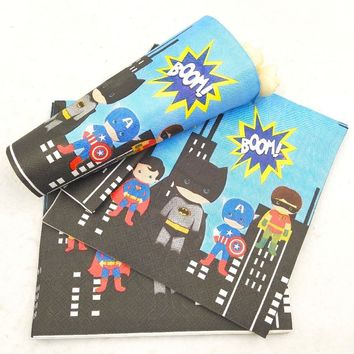 Batman Dark Knight gift Christmas 10pcs Batman Decorative Paper Napkins Kids Birthday Party/Baby Shower Favor Superhero Disposable Dinner Napkins Cheap Serviettes AT_71_6