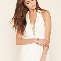 Lace-Up Embroidered Romper