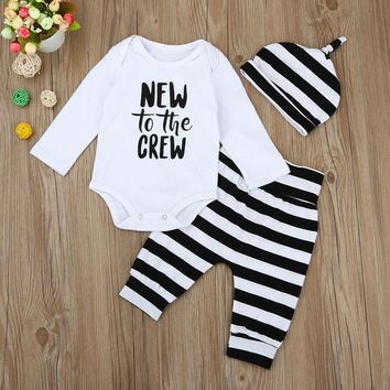 "Kid's 3PCS ""New to the Crew"" Romper+Striped Long Pants+Hat Outfit"