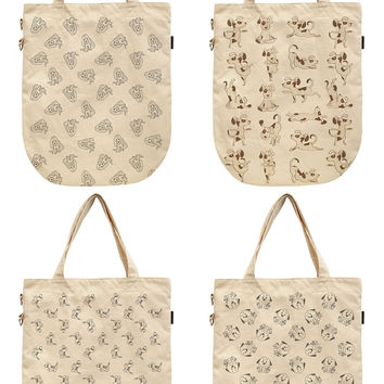 Women Funny Dog Patterns Printed Canvas Tote Shoulder Bags WAS_39