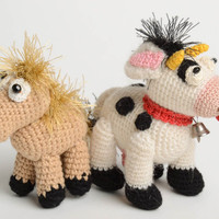 Handmade designer crocheted toy natural wool horse and cow unique interior toys