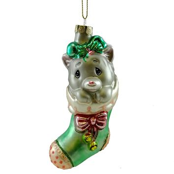 Precious Moments KITTEN IN STOCKING Glass Christmas Ornament 612032
