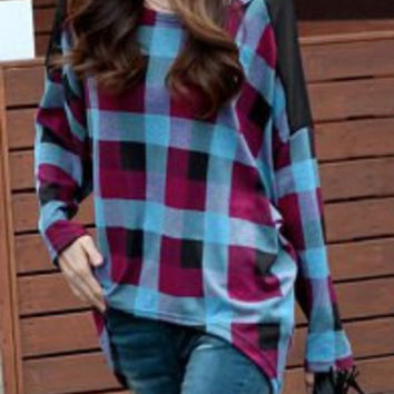 Red and Blue Batwing Sleeve Plaid T-Shirt