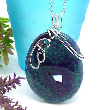 Teal Stone Necklace, Purple Stone Pendant, Wire Wrapped, Dragons Vein Agate, Sterling Silver Rock Necklace, Fashion Jewelry
