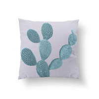 Mint Cactus Pillow, Plant Illustration Pillow, Home Decor, Cushion Cover, Throw Pillow, Bedroom Decor, Bed Pillow, Decorative Pillow