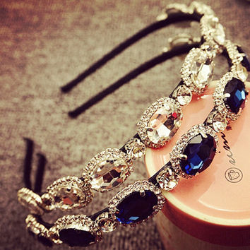 Womens Lady Elegant Luxury Rhinestone Diamond Charm Headbands Wedding Bridal Flower Headband Hairbands Headwear Hair Accessories