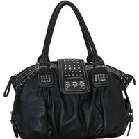 MG Collection Metal Studded Soft Leatherette Shopper Hobo Shoulder Bag