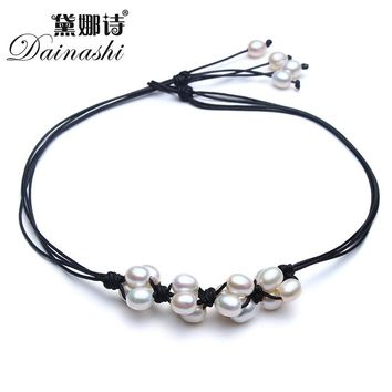Dainashi Trendy 100% Natural Freshwater Pearl Choker Necklaces for Women Leather Brand High Quality Jewelry