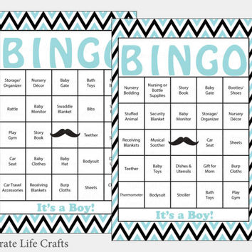 30 Little Man Baby Shower Bingo Cards -   30 Prefilled Bingo Cards - Boy Baby Shower Game - Aqua Black - Printable - B1004