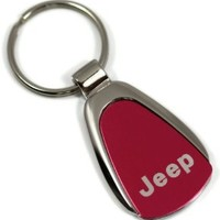 Jeep Keychain Name Logo Chrome RED Tear Drop Metal Key Ring Lanyard mopar