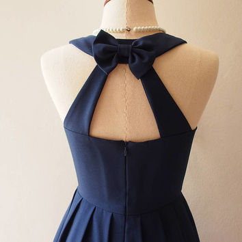 Love Potion - Navy Party Dress Backless Dress Navy Prom Dress Bridesmaid Dress Vintage Style La La Land Dress Sundress