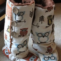 Tall Owl Blippers Knee High Adult Booties Slippers by DKMagArts