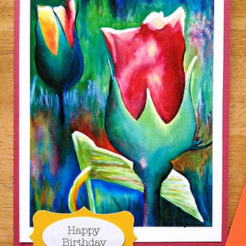 Happy Birthday Colorful Flower Print Greeting Note Card (Blank Inside) - Print reproduction of Original Art Oil Painting