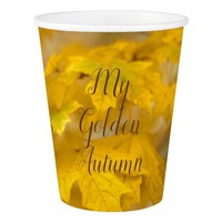 Yellow autumn maple leaves. Add you text and photo Paper Cup
