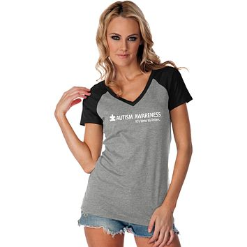 Buy Cool Shirts Autism Awareness Time to Listen Ladies Contrast V-Neck Shirt