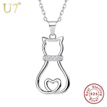 U7 Authentic 100% 925 Sterling Silver Cat Pendant Necklace Lovely Cute Animal CZ Women Fashion Jewelry Valentine Gift SC85