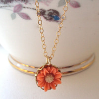 Small Peach Daisy necklace - gold filled chain - flower charm