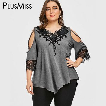 PlusMiss Plus Size 5XL Applique Cold Shoulder Blouse Women Clothes Big Size Vintage Open Shoulder Lace Crochet Boho Tops Ladies