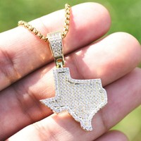 Iced Out Texas State Map USA Pendant Free Box Chain