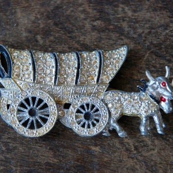 Vintage Rhinestone Brooch Pot Metal Covered Wagon Oxen Articulated Moving Wheels Figural 1940's // Vintage Costume Jewelry