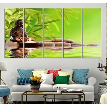 87539 - Small Cute Buddha Statue with Zen Stones and Green Leaves Canvas Print