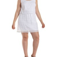 Plus Size White Layered Scalloped Lace Dress by Charlotte Russe