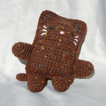 Amigurumi Kitty Crochet Cat Brown with Colored Flecks by CroweShea