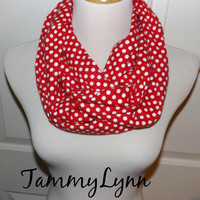 Red with White Polka Dot FLANNEL Infinity Scarf Christmas Women's Accessories
