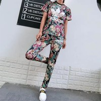 """Adidas"" Women Fashion Casual Letter Multicolor Flowers Print Stripe Short Sleeve Trousers Set Two-Piece Sportswear"