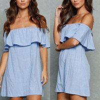 2016 Fall Style Ruffle Blue Off the Shoulder Flouncing Dress [6446684420]