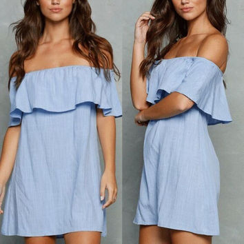 2016 Fall Style Ruffle Blue Off the Shoulder Flouncing Dress [8906171847]
