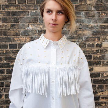 Studs & Fringe Button-Up