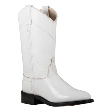 Old West White Dyeable Leather Roper Western Boots in Western Arena Boots