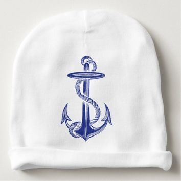 Blue Vintage Anchor Baby Beanie
