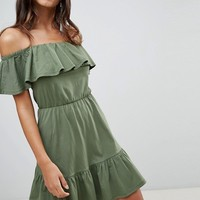 ASOS DESIGN off shoulder sundress with tiered skirt at asos.com