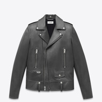 Saint Laurent CLASSIC MOTORCYCLE JACKET IN Grey LEATHER | ysl.com